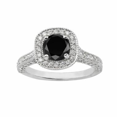 Platinum Fancy Black & White Diamond Engagement Ring 1.90 Carat Halo Certified HandMade Pave Set