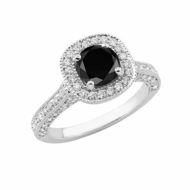 1.90 Carat Fancy Black & White Diamond Engagement Ring 14k White Gold Halo Certified HandMade Pave Set