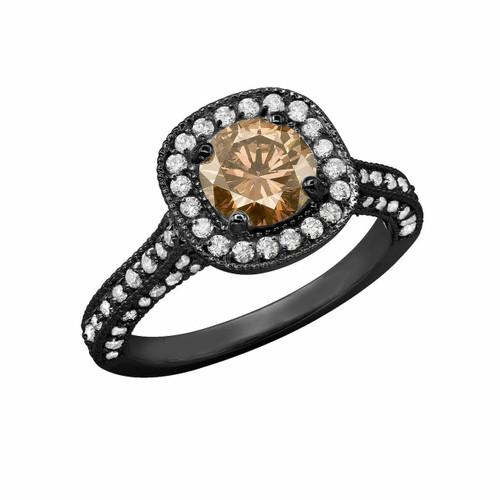 Champagne & White Diamond Engagement Ring Vintage Style 14k Black Gold 1.85 Carat Halo Certified HandMade Pave Set