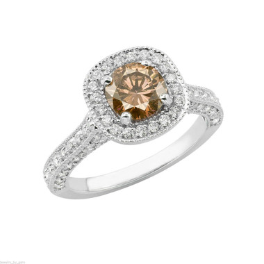 Champagne Diamond Engagement Ring White Gold, Halo Engagement Ring, Brown Diamond Wedding Ring, 1.85 Carat Certified Handmade Pave Set