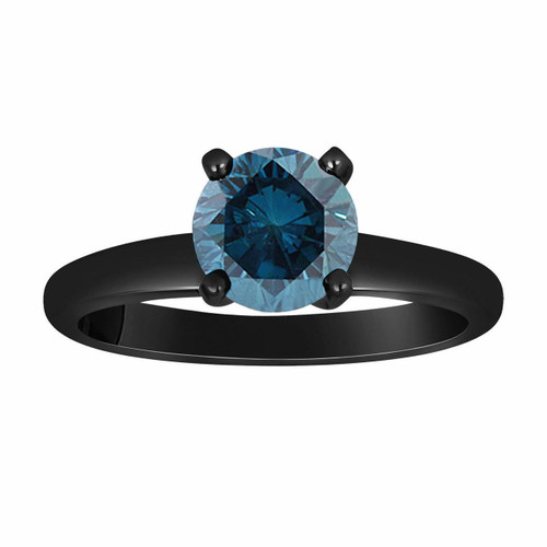 Blue Diamond Solitaire Engagement Ring 1.00 Carat Vintage Style 14K Black Gold Certified HandMade