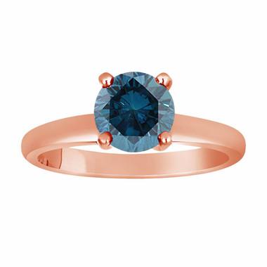 Fancy Blue Diamond Solitaire Engagement Ring 1.00 Carat 14K Rose Gold Certified HandMade
