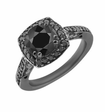 Fancy Black Diamond Engagement Ring 1.49 Carat Vintage Style 14K Black Gold Certified Pave Set HandMade