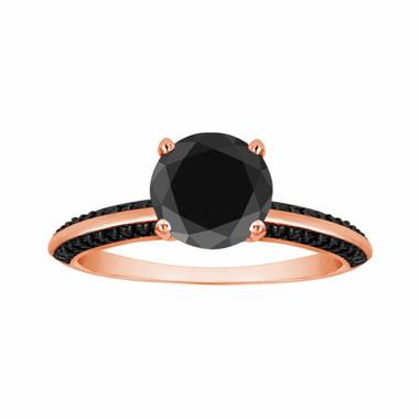 Fancy Black Diamond Engagement Ring 1.34 Carat 14K Rose Gold Micro Pave Set handmade