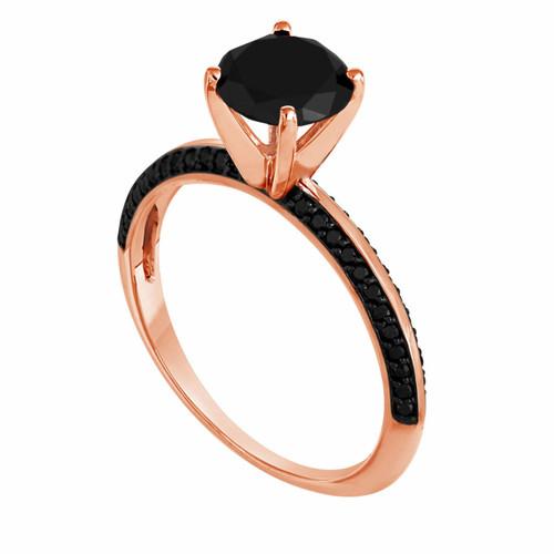 1.79 Carat Fancy Black Diamond Engagement Ring 14K Rose Gold Micro Pave Set handmade