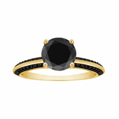Fancy Black Diamond Engagement Ring 1.34 Carat 14K Yellow Gold Micro Pave Set handmade