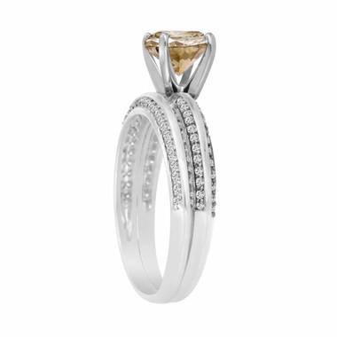 Champagne Brown Diamond Engagement Ring Wedding Anniversary Band Sets 1.23 Carat 14K White Gold Micro Pave HandMade Bridal