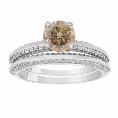 Champagne Brown Diamond Engagement Ring Wedding Anniversary Band Sets 1.54 Carat 14K White Gold Micro Pave HandMade Bridal