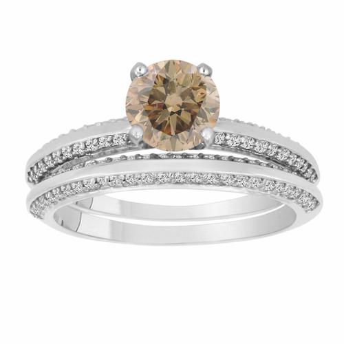 Champagne Brown Diamond Engagement Ring Wedding Anniversary Band Sets 1.54 Carat 14K White Gold Micro Pave HandMade Bridal
