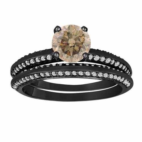 1.23 Carat Champagne & White Diamond Engagement Ring Wedding Anniversary Band Sets Vintage Style 14K Black Gold Micro Pave HandMade Bridal