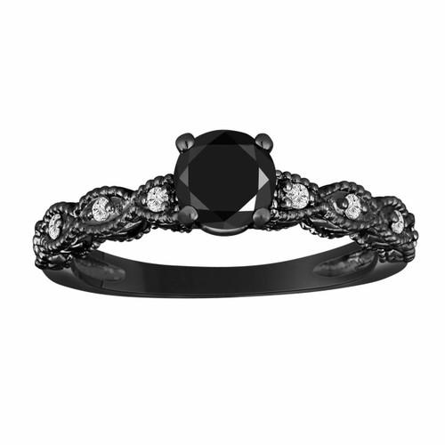 0.79 Carat Black Diamond Engagement Ring, Black Gold Engagement Ring, Vintage Style Engraved 0.79 Carat Handmade Certified