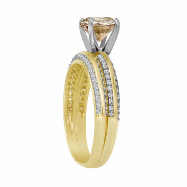 1.23 Carat 14K Yellow Gold Natural Champagne & White Diamond Engagement Ring Wedding Anniversary Band Sets Micro Pave HandMade Bridal