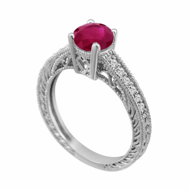Ruby & Diamond Engagement Ring 0.64 Carat Style 14k White Gold Antique Style Engraved Certified Handmade