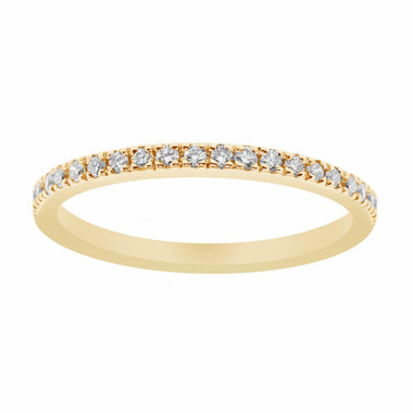 14K Yellow Gold Wedding & Anniversary Diamond Stackable Half Eternity Band 0.25ct Handmade Pave Set