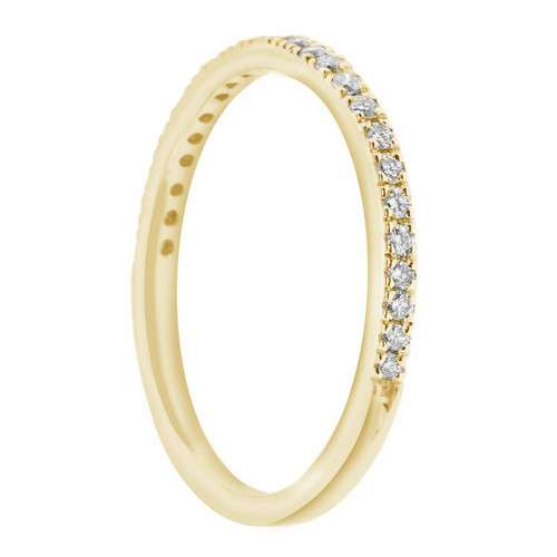 18K Yellow Gold Wedding & Anniversary Stackable Half Eternity Diamond Band 0.25ct Handmade Pave Set