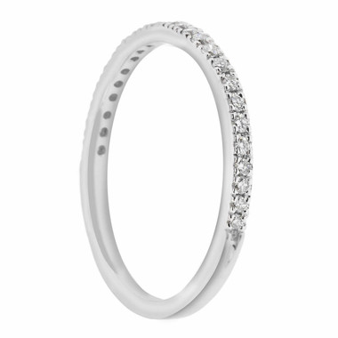 18K White Gold Wedding & Anniversary Diamonds Stackable Band 0.25ct handmade Pave Set