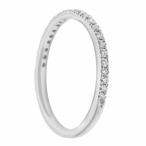 18K White Gold Wedding & Anniversary Diamonds Stackable Band 0.25ct handmade Pave Set