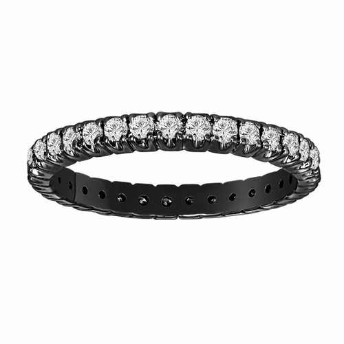 0.65 Carat Diamond Eternity Wedding Band Vintage Style 14K Black Gold Certified handmade