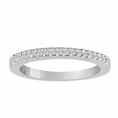 Diamond Wedding Band, Half Eternity Ring, Anniversary Ring, 14K White Gold 0.24 Carat Pave Set Handmade