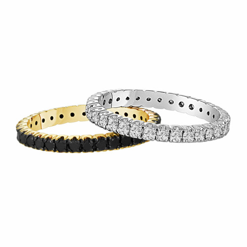 1.50 Carat 14k Yellow & White Gold Wedding and Anniversary Eternity Black And White Diamond Stackable 2 Bands handmade