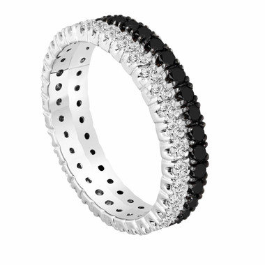 1.50 Carat 950 Platinum Wedding and Anniversary Eternity Black And White Diamond Bands Stackable 2 Bands handmade