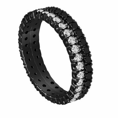 1.50 Carat Eternity Black And White Diamond Wedding Bands Stackable Vintage Style 14K Black Gold handmade