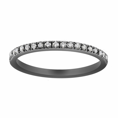 Wedding or Anniversary Half Eternity Diamond  Band 14K Black Gold Vintage Style 0.25ct Handmade Pave Set
