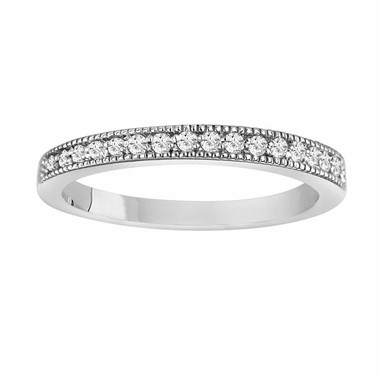 0.18 Carat 14K White Gold Wedding & Anniversary Diamond Band handmade milligrain Pave Set