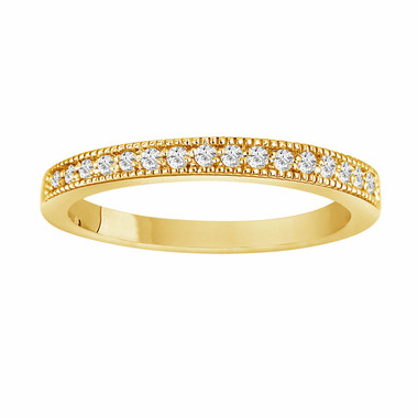0.18 Carat 18K Yellow Gold Wedding & Anniversary Diamond Band handmade milligrain Pave Set