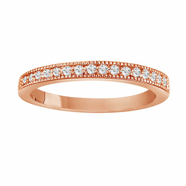 0.18 Carat 14K Rose Gold Wedding & Anniversary Diamond Band handmade milligrain Pave Set