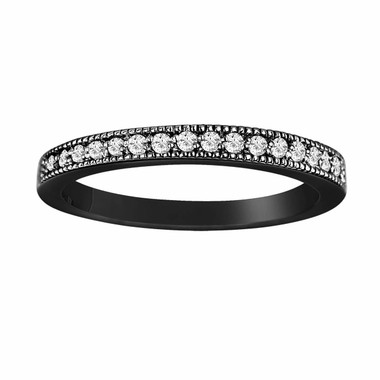 Wedding or  Anniversary Diamond Band Vintage Style 14K Black Gold 0.15 Carat handmade milligrain Pave Set
