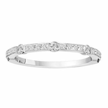 Diamond Wedding Anniversary Band Half Eternity 14K White Gold 0.40 Carat