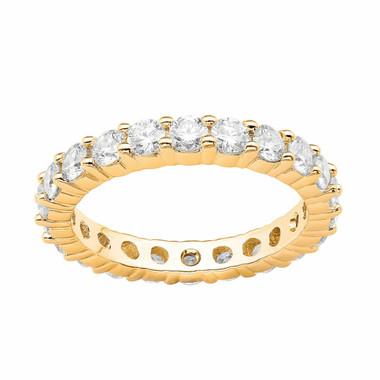 Eternity Diamond Wedding Ring, Anniversary Band, 2.20 Carat 14K Yellow Gold Stackable handmade
