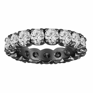 2.85 Carat Diamond Eternity Wedding Band Ring  Certified 14K Black Gold Vintage Style Handmade