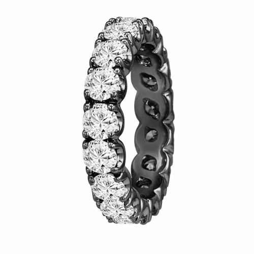 Eternity Diamond Wedding Band Ring 2.00 Carat 14K Black Gold Vintage Style Handmade