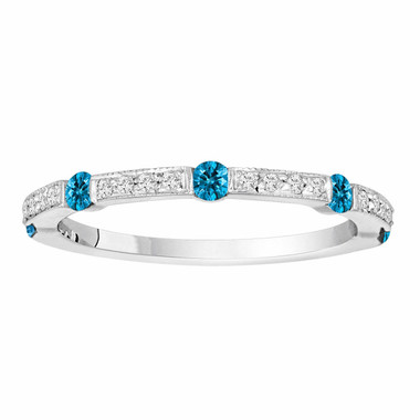0.44 Carat Half Eternity 14K White Gold Blue & White Diamond Wedding Anniversary Band Canal And Pave Set handmade