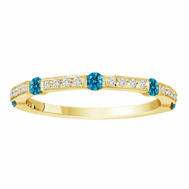 0.44 Carat Half Eternity 14K Yellow Gold Blue & White Diamond Wedding Anniversary Band Canal And Pave Set handmade
