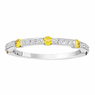 0.44 Carat Fancy Yellow & White Diamond Wedding Band, Half Eternity Ring, 14K White Gold Canal And Pave Set handmade