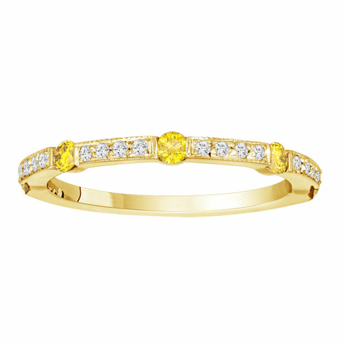 0.44 Carat Fancy Yellow & White Diamond Wedding Band, Half Eternity Ring, 14K Yellow Gold Canal And Pave Set handmade