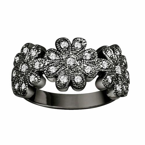 Vintage Style 18K Black Gold Flower Diamond Engagement Cocktail Ring 0.30 Carat Unique HandMade Pave Set Unique Ring Anniversary Band
