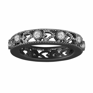 Wedding Or Anniversary Eternity Diamond Band Vintage Style 14K Black Gold 0.35 Carat heart Love design handmade unique