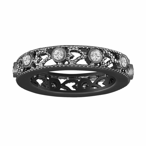 Wedding Or Anniversary Eternity Diamond Band Vintage Style 14K Black Gold 0.35 Carat heart Love design handmade unique