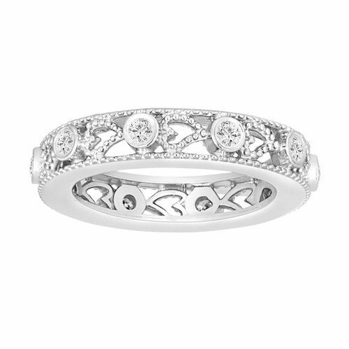 14K White Gold Wedding & Anniversary Eternity Diamond Band 0.35 Carat Vintage Style heart Love design handmade unique