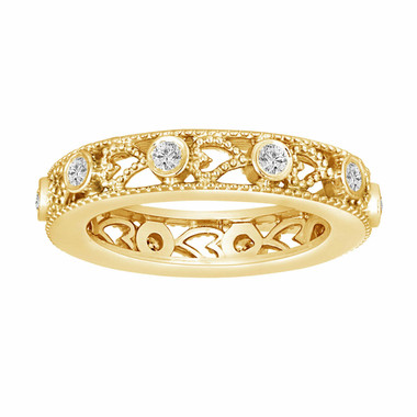 14K Yellow Gold Wedding & Anniversary Eternity Diamond Band 0.35 Carat Vintage Style heart Love design handmade unique