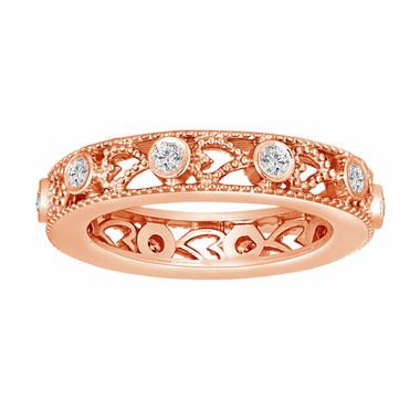 14K Rose Gold Wedding & Anniversary Eternity Diamond Band 0.35 Carat Vintage Style heart Love design handmade unique