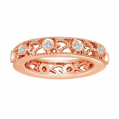 14K Rose Gold Wedding & Anniversary Eternity Diamond Band 0.35 Carat Vintage Style heart Love design handmade unique