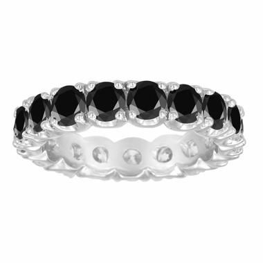 3.05 Carat Black Diamond Eternity Wedding Band Certified 14K White Gold Handmade