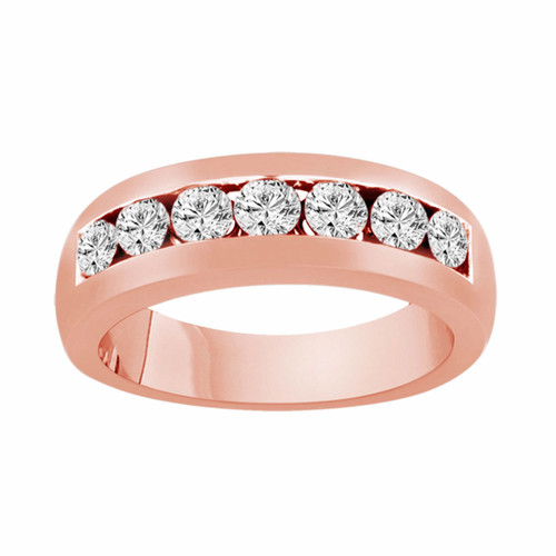 14K Rose Gold Diamond Wedding Band 0.77 Carat Canal Set 6 mm Unisex Handmade