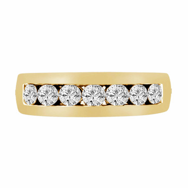 0.77 Carat 14K Yellow Gold 7 Stone Wedding & Anniversary Diamond Band Canal Set 6mm Unisex Handmade