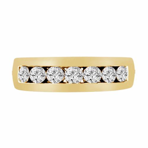 0.77 Carat 14K Yellow Gold 7 Stone Wedding & Anniversary Diamond Band Canal Set 6mm Unisex Handmade